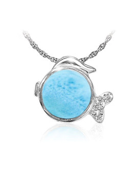 MarahLago Marine Life Collection Larimar Fish Necklace
