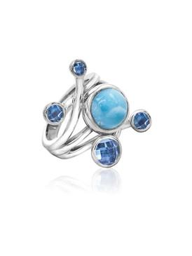 MarahLago Karisma Larimar Ring with Blue Topaz