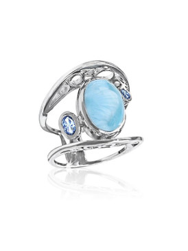 MarahLago Poetry Collection Larimar Ring with Blue Topaz