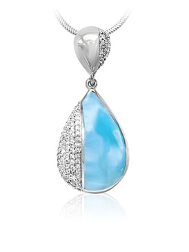 MarahLago Divine Collection Larimar Pendant with White Sapphire