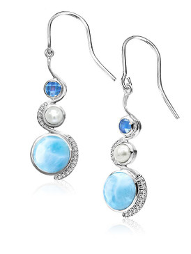MarahLago Zen Collection Larimar Earrings with Blue Topaz, White Sapphire & Freshwater Pearl