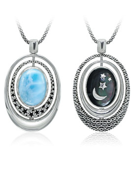 MarahLago Orion Collection Larimar Necklace with Mother of Pearl
