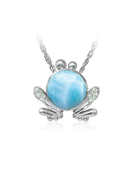 MarahLago Wildlife Collection Larimar Frog Pendant/Necklace with Green Spinel