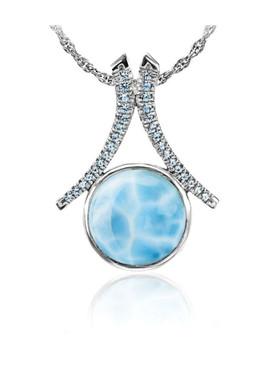 MarahLago Paris Collection Larimar Pendant / Necklace with Blue Spinel