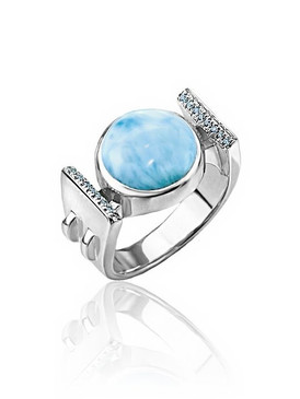 MarahLago Paris Collection Larimar Ring with Blue Spinel