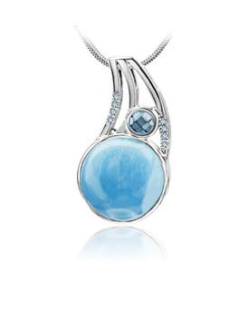 MarahLago Ellesmere Collection Larimar Necklace with Blue Topaz