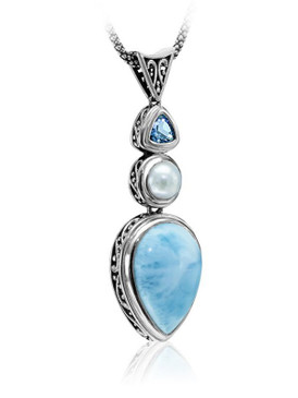MarahLago Azure Pear Collection Larimar Necklace with Blue Topaz & Pearl