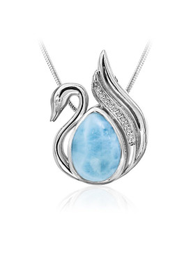 MarahLago Wildlife Collection Larimar Swan Pendant/Necklace with White Sapphire