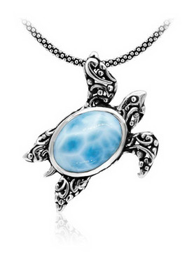 MarahLago Marine Life Collection Larimar Turtle Filigree Necklace