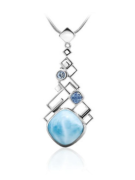 MarahLago Pixel Collection Long Larimar Pendant with Blue Spinel