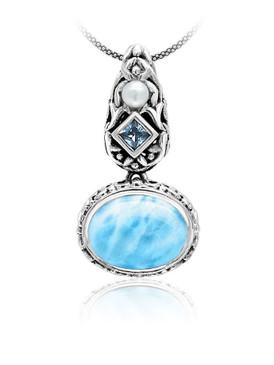 MarahLago Messina Petite Larimar Necklace with Blue Topaz & Pearl