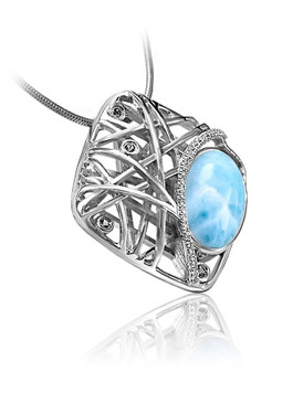 MarahLago Quadra Collection Larimar Pendant/Necklace with Blue Spinel & White Sapphire