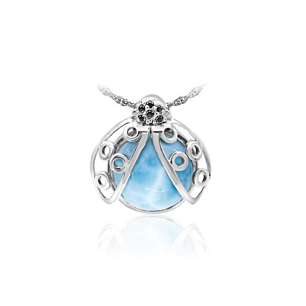 MarahLago Wildlife Larimar Lady Bug Necklace with Black Spinel