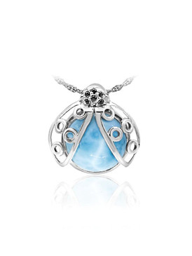 MarahLago Wildlife Collection Larimar Lady Bug Necklace with Black Spinel
