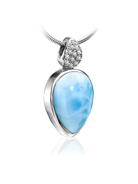 MarahLago Bliss Pear Collection Larimar Pendant/Necklace with White Sapphire