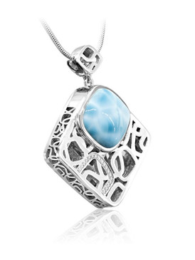 MarahLago Zara Collection Square Larimar Pendant/Necklace with White Sapphire
