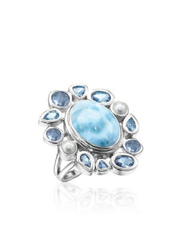 MarahLago Olympia Collection Larimar Ring with Blue Spinel