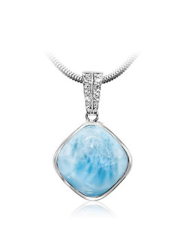 MarahLago Chari Collection Larimar Pendant/Necklace with White Sapphire