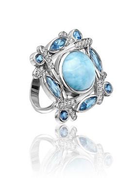 MarahLago Sakura Larimar Ring with Blue Topaz