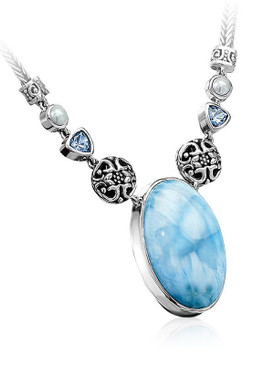 MarahLago Oceana Collection Large Larimar Necklace with Blue Topaz & Pearl