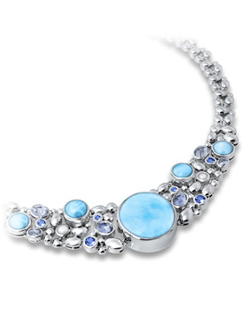 MarahLago Victoria Collection Larimar Necklace with Blue Spinel