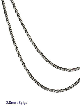 Oxidized Sterling Silver 2.0 mm Balinese Spiga Chain