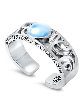 MarahLago Zara Collection Larimar Bangle Cuff Bracelet with White Sapphire