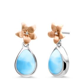 MarahLago Plumeria Collection Larimar Earrings