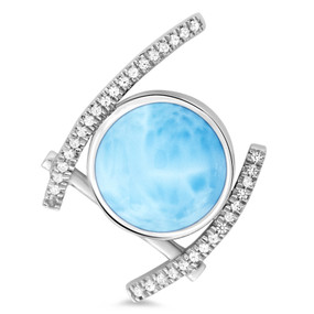MarahLago Vixen Collection Larimar Pendant / Necklace with White Sapphire