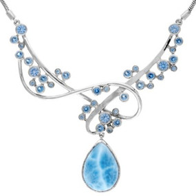 MarahLago Constellation Collection Larimar Necklace with Blue Spinel