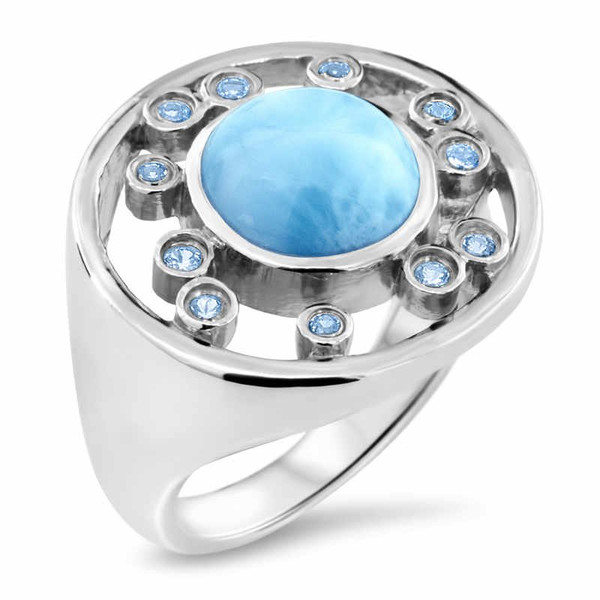 MarahLago Zion Collection Larimar Ring with Blue Spinel