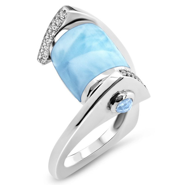 MarahLago Xia Collection Larimar Ring with White Sapphire