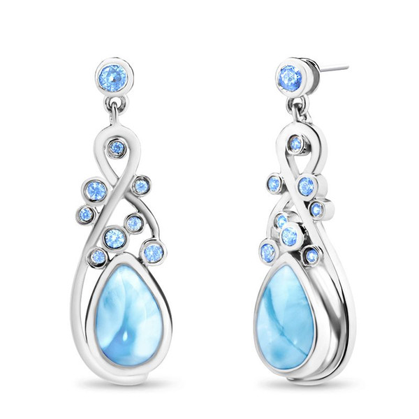 MarahLago Constellation Collection Larimar Earrings with Blue Spinel