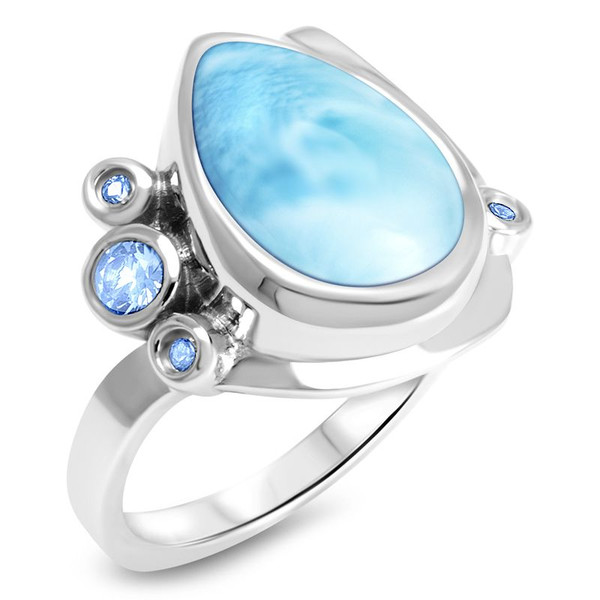 MarahLago Constellation Collection Larimar Ring with Blue Spinel