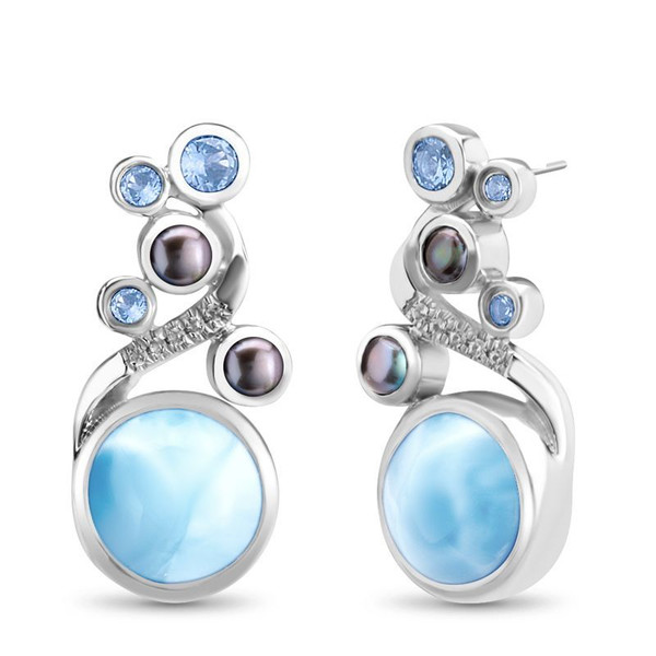 MarahLago Seascape Collection Earrings with Blue Spinel and Black Mother of Pearl