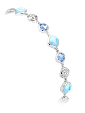 MarahLago Faceta Collection Larimar Bracelet with Blue Topaz 3x4