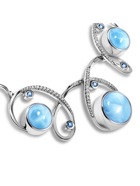 MarahLago Mia Collection Larimar Necklace with Blue Spinel - alt 3x4