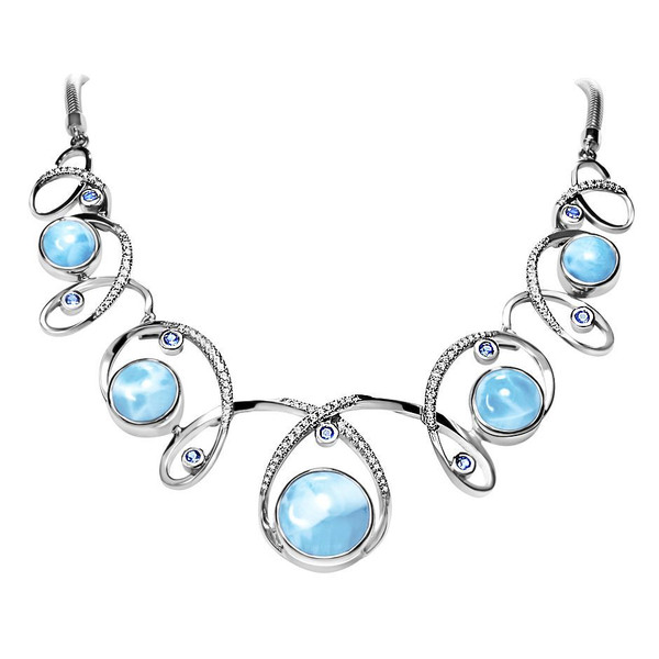 MarahLago Mia Collection Larimar Necklace with Blue Spinel