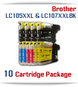 10 Cartridge Package Brother LC 105XXL, LC 107XXL
