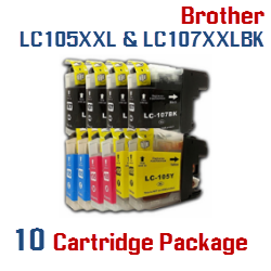 10 Cartridge Package Compatible Brother LC105XXL & LC107XXL Included Cartridges:  4 LC107XXLBK Black, 2 LC105XXLC Cyan, 2 LC105XXLM Magenta,  2 LC105XXLY Yellow