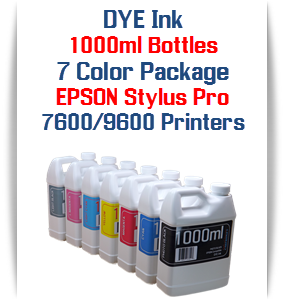 7 Color Package Dye Bottle Ink  1000ml each Color Epson Stylus Pro 7600, 9600 Printers