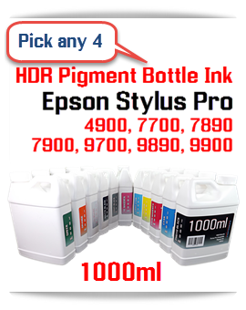 Pick any 4 colors of Pigment HDR Compatible Ink Epson Stylus Pro