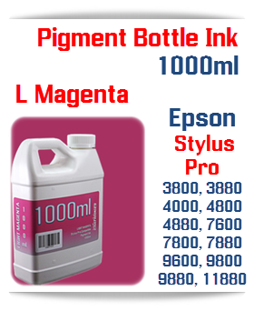 Light Magenta Epson Stylus Pro Printers Compatible UltraChrome Pigment Ink 1000ml Bottle