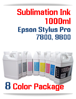 8 color package Sublimation 1000ml Bottle Ink Epson Stylus Pro 7800, 9800 printers