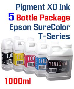 5 Bottle Package Epson SureColor T-Series Compatible Pigment XD Bottle Ink