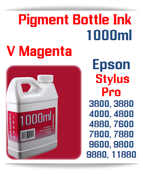 Vivid Magenta Epson Stylus Pro Printers Compatible UltraChrome Pigment Ink 1000ml Bottle