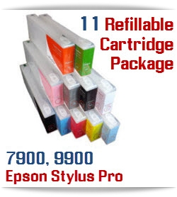 11 Cartridge Package Epson Stylus Pro 7900, 9900 Refillable Ink Cartridges