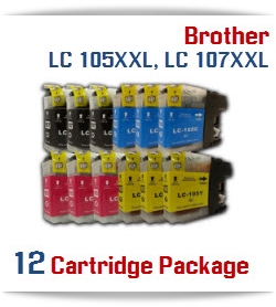 12 Cartridge Package Brother LC 105XXL, LC 107XXL