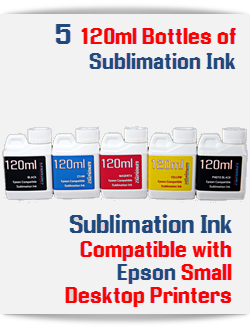 5 120ml Sublimation Ink Bottles Package