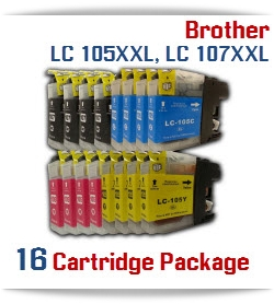 16 Cartridge Package Brother LC-105XXL, LC-107XXL Cartridges